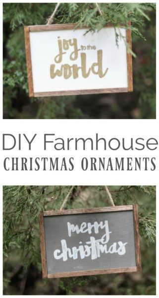 How to make cute DIY Farmhouse Christmas ornaments. These simple handmade ornaments look like mini painted wood signs an chalkboards. #Christmasornaments #ornament