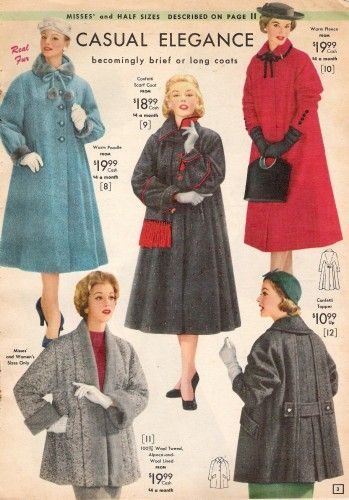 History of 1950s Coats and Jackets: 1957 Long Full Winter Coats and Half Coats with Matching Accessories