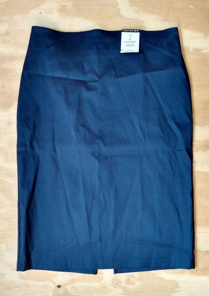 NWT TOPSHOP Women's Navy Iridescent Stretch Pencil Skirt Slit Back UK 12 US 8 #Topshop #StraightPencil