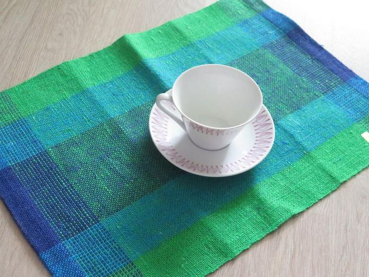 Handwoven Table Placemats, Table Napkins Set of 6 Blue Green Jute Burlap Placemats by Helmi Vuorelma Finland Table Decor, Unused #3-37-18