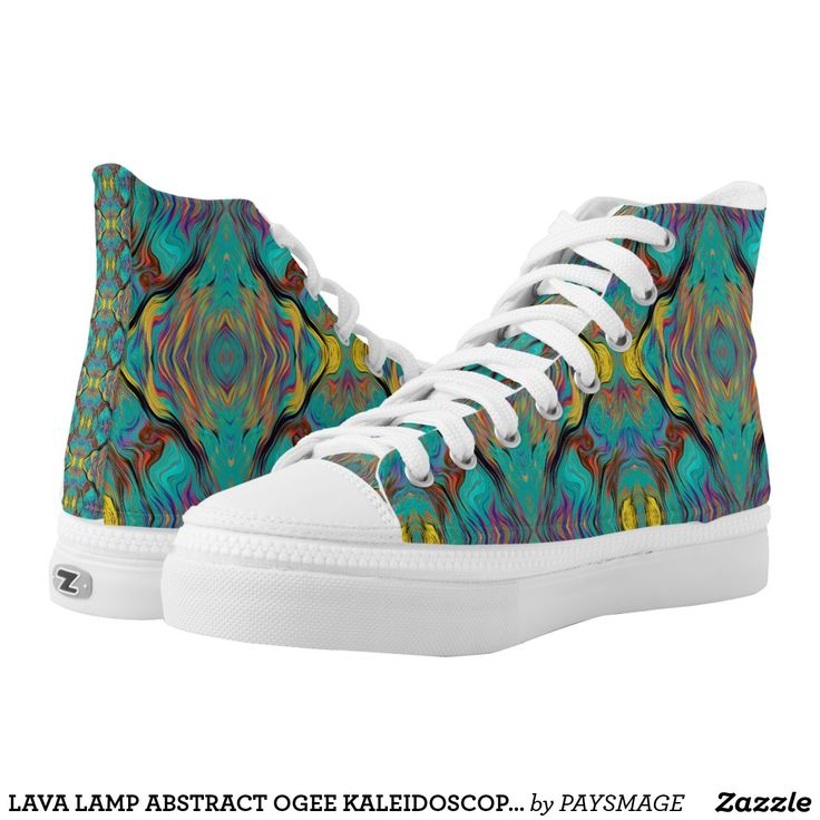 LAVA LAMP ABSTRACT OGEE KALEIDOSCOPE EMERALD High-Top SNEAKERS