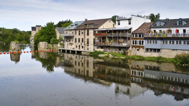 Waterfront living along the Grand River in Elora, Ontario, Canada