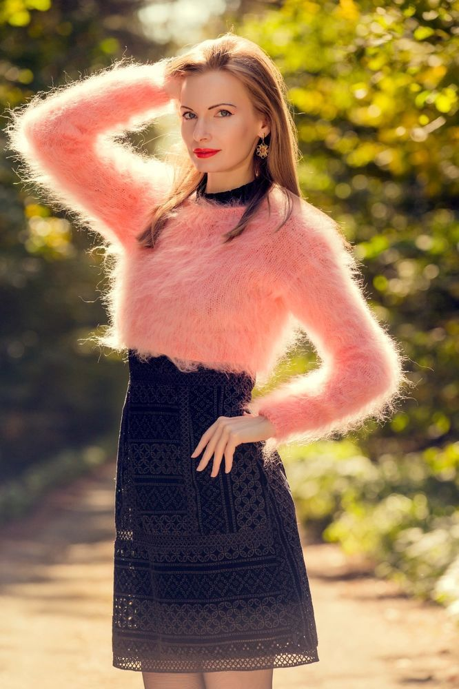 dfbc8c0250 NEW pink sweater fuzzy top summer fluffy mohair blouse cropped jumper  SUPERTANYA  SUPERTANYA  Crewneck