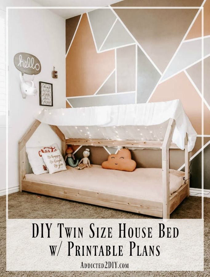 How To Build A Twin Size House Bed Addicted 2 Diy In 2020 Toddler House Bed House Beds For Kids Kids Bed Frames