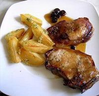 Receta de Chuletas de cerdo con patatas fritas