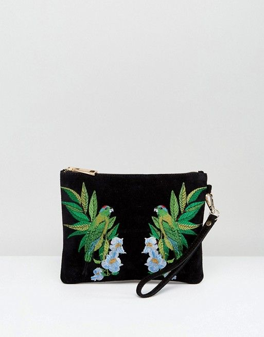 Oasis Embroidered Bird Clutch