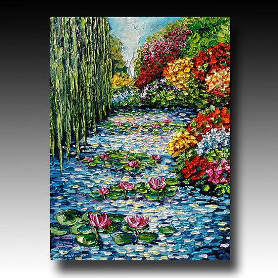 Oil Painting Original  ART Trees Painting Palette Knife by bsasik, $2390.00
