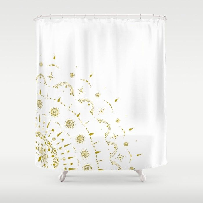 A personal favorite from my Etsy shop https://www.etsy.com/listing/478595097/gold-white-shower-curtain-gold-shower