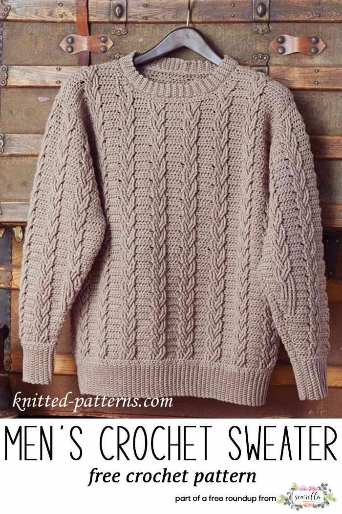 a13acd088 Get the free crochet pattern for this Crochet Mens Cabled Pullover Sweater  from Knitted Patterns featured in my husband-approved crochet sweaters for  men ...