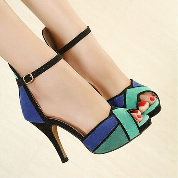 Sexy Spike Comfortable High Heels Fashion Patch Women Sandals 2 Colors Size 34-39 Mulheres Sandalias Summer Shoes