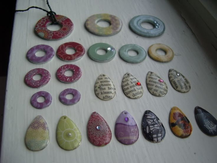 modge-podged washers . . . and fishing lures??? - excellent zipper pulls! - JEWELRY AND TRINKETS