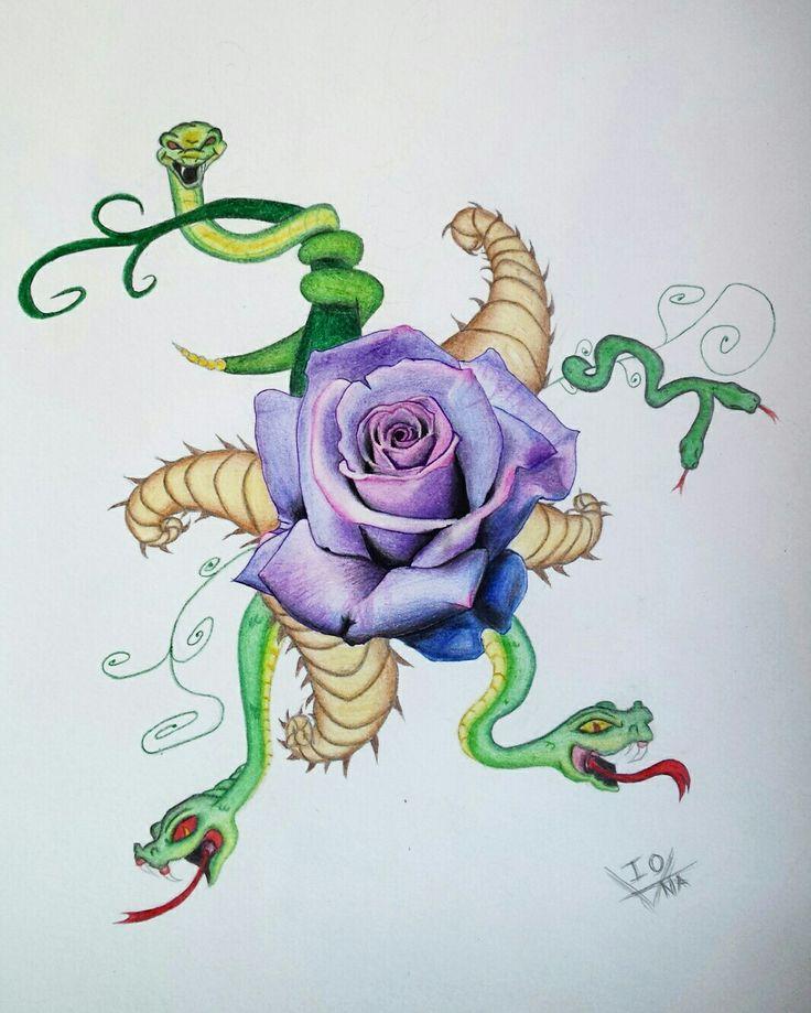 Violet rose #rose #violetrose #violet #snakes #drawing #pencils #colours #sketch