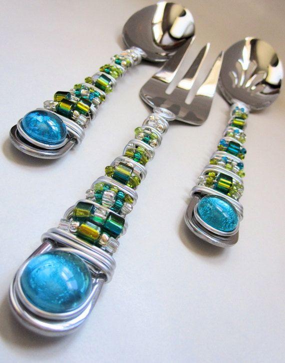 Whimsical Aqua and Lime Hand Beaded Serving Utensils