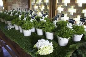 Proposta decorazione con erba finta sul tavolo - matrimonio eco chic