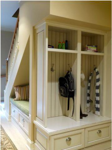 Coat rack and under the stairs nook. #woodwaysdesign
