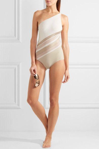 LA PERLA Diagonal Touch one-shoulder paneled metallic jersey and mesh swimsuit