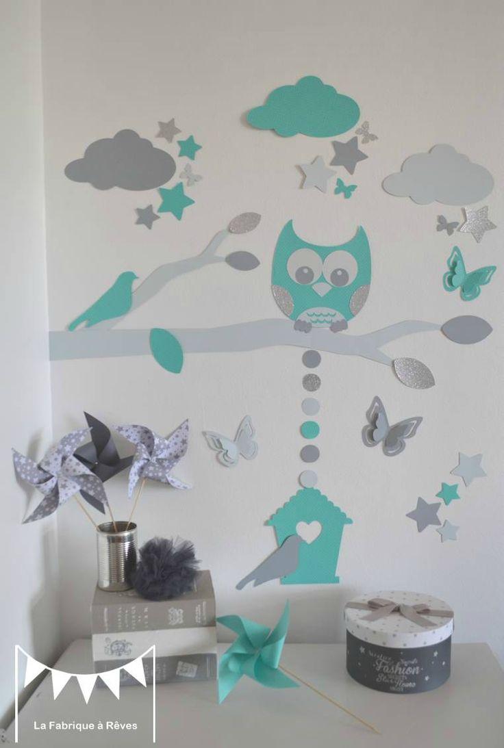 stickers décoration chambre enfant garçon bébé branche cage à oiseau hibou oiseaux étoiles gris turquoise blanc
