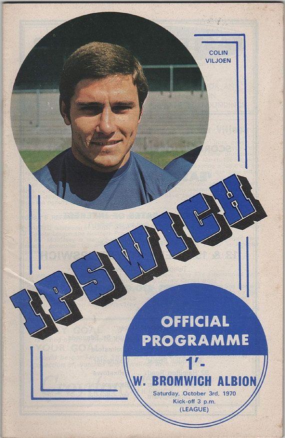 Vintage Football (soccer) Programme - Ipswich Town v West Bromwich Albion, 1970/71 season, by DakotabooVintage