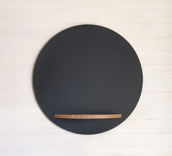 Round Chalkboard with Bamboo Tray, 26 Inch Diameter, Hanging Modern