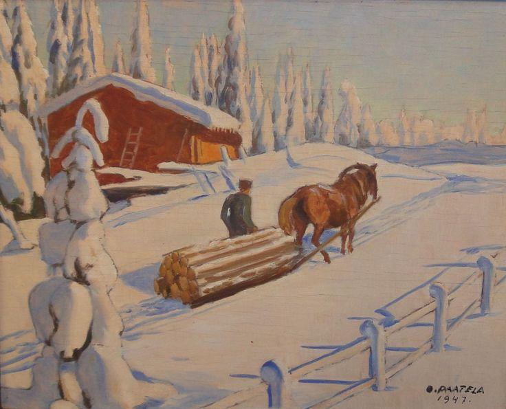 Oskari Paatela (1888-1952) Tukinajossa / Drawing logs 1947 - Finland - Finnish horse