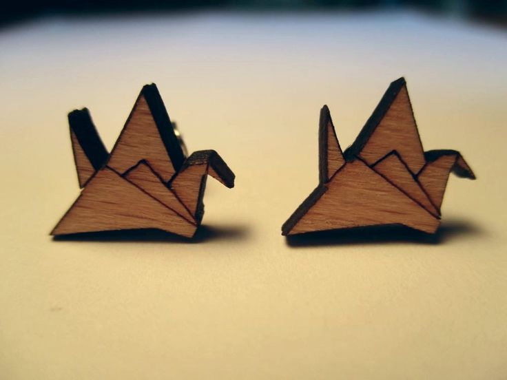 Origami Crane Wooden Earrings | Trade Me