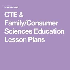 CTE & Family/Consumer Sciences Education Lesson Plans