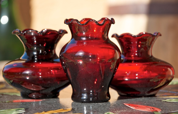 Vintage Royal Ruby Anchor Hocking Depression Glass Vases...ruby red glass...set of three vases.. $20.00 USD, via Etsy.