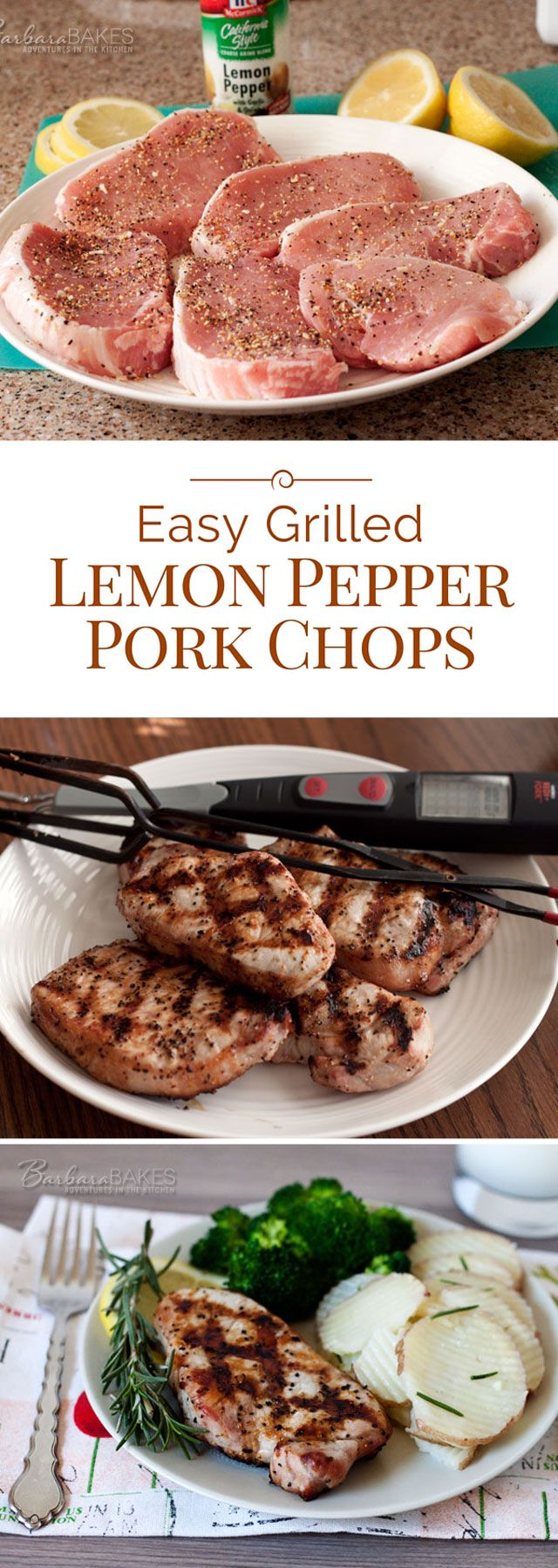 A Perfectly Grilled Boneless Pork Chop Seasoned Simply With Lemon Pepper,  Lemon Juice And Olive