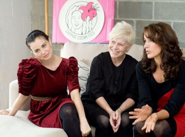 When The L Word makeup artist JoAnn Fowler (centre) grew tired of putting chemical-filled makeup on actors—such as the show's Mia Kirshner (left) and Jennifer Beals—she created Sappho Cosmetics, nixing chemicals in everything from eyeliners to lip glosses