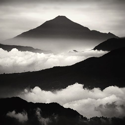 mountains, clouds, black and white, high, nature, sky
