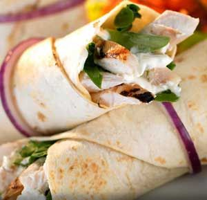 Creamy Cheesy Chicken Parcels recipe made using a health grills: Ingredients:  1 lean chicken breast with skin removed 75 -100 g reduced fat cream cheese 100 g fresh baby spinach leaves washed & dried 1 tsp mustard powder 1 tsp grated nutmeg 1 tsp pepper 2 flour tortilla wraps