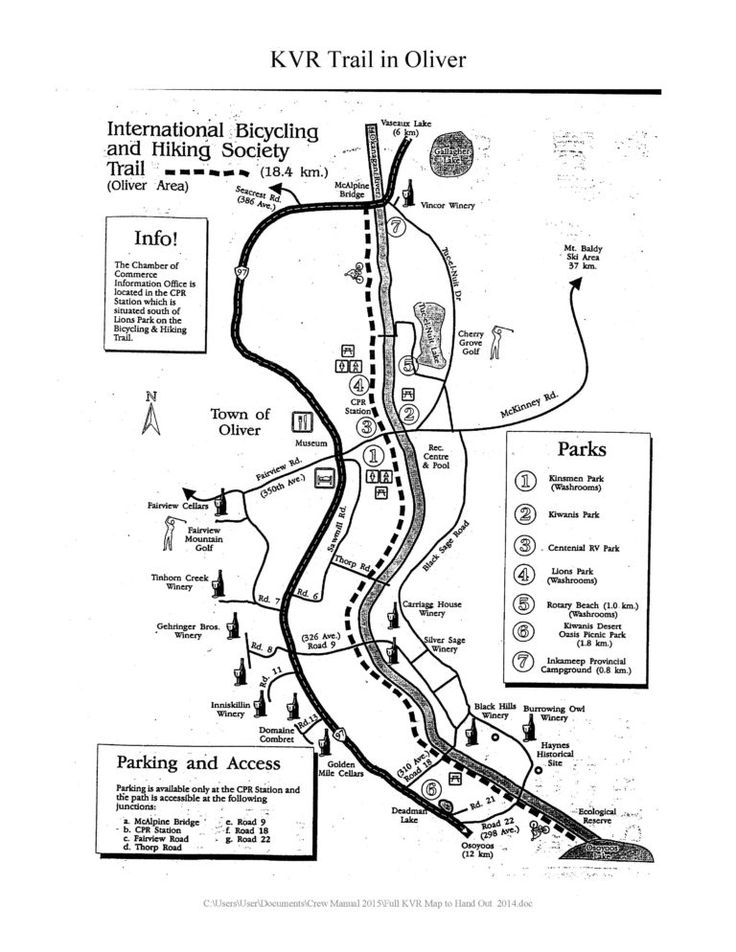Printable Hiking Walking and Biking Trails Map - along the KVR (Kettle Valley Railway) in Oliver BC - Map from Penticton and Wine Country Tourism Information Centre (South Okanagan)