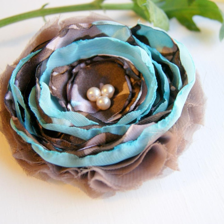 colour inspiratinTaupe and Blue Fabric Flower Pin. #flower #pin #supplies