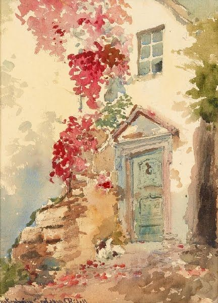 Carl R Dell Watercolor Content In A Cottage