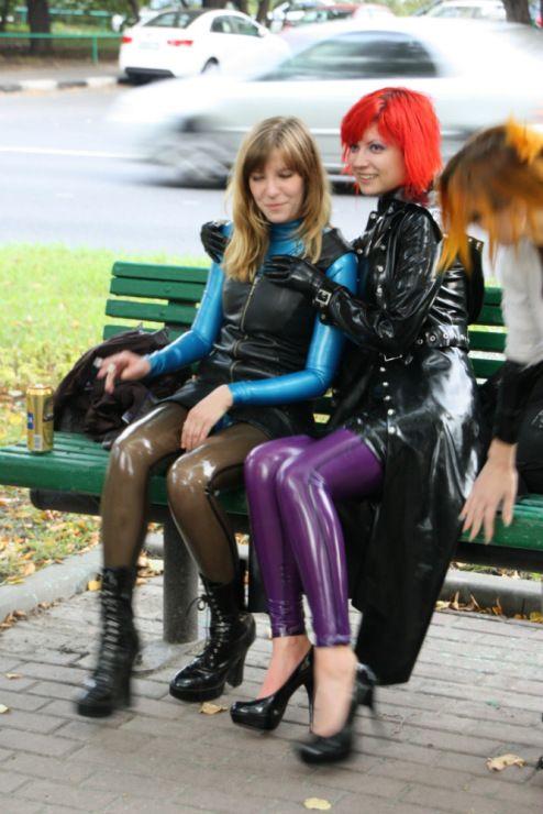 latex girls in public