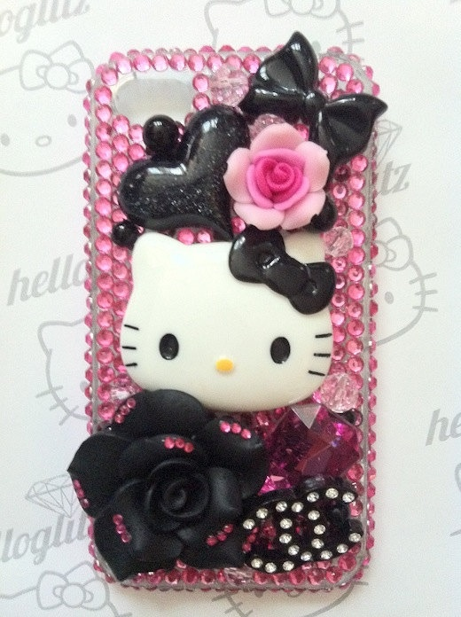 3D Hello Kitty Pink and Black Bling iPhone 4 Case by helloglitz