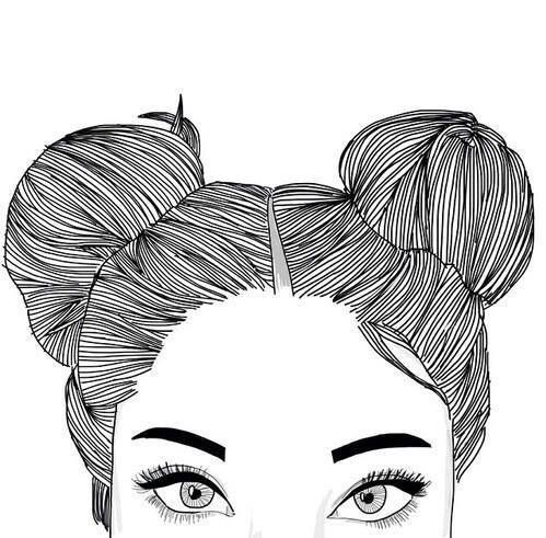 beauty, buns, drawing, eyebrows, girl, hair, space