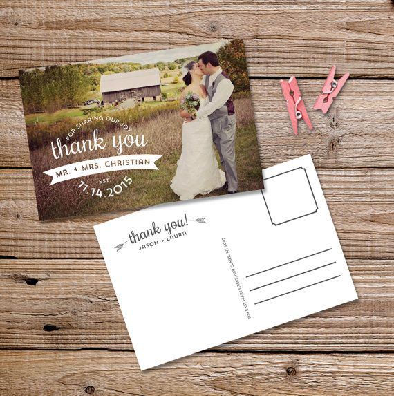 Wedding Thank You Postcard with Photo Printable or by themunch