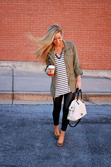 SUMMER/FALL: black leggings, stripped shirt, green jackets, leopard shoes, bold necklace, and white bag.