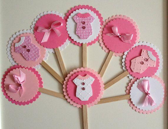 baby douche cupcake toppers baby meisje douche door TwinkleStarParty