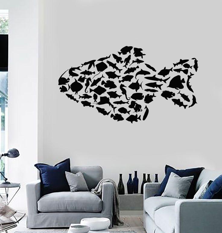 Vinyl Wall Decal Marine Animals Fish Ocean Sea Bathroom Stickers (ig2939)