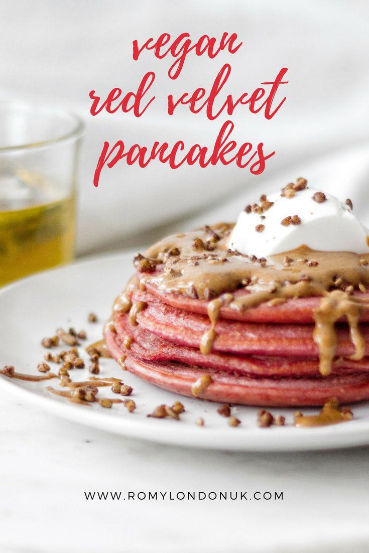 Vegan Red Velvet Pancakes Recipe for Valentine's Day (or the rest of the year ;))  Find more vegan recipes on www.romylondonuk.com