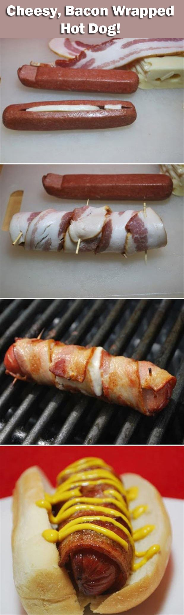 cheese bacon wrapped hotdog pre-make for camping
