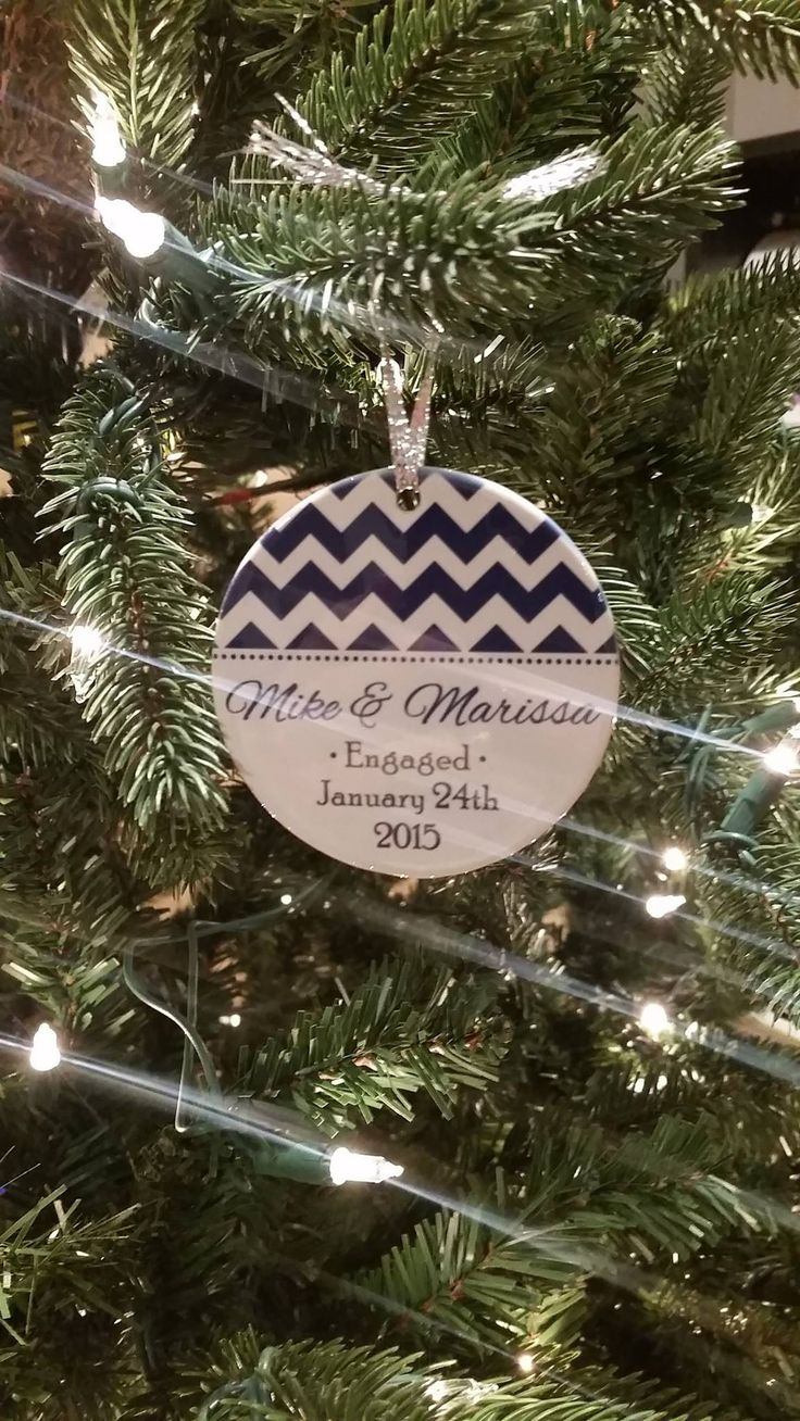Chevron Engagement Ornament  Personalized Holiday Ornament  Personalized  Gift  Customer Photo  Peachwik