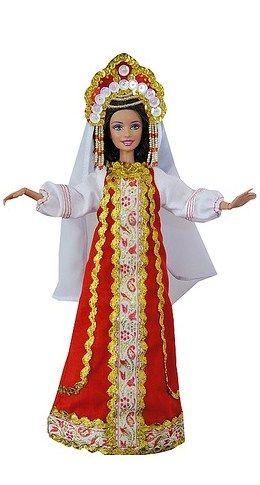 Barbie in a handmade Russian costume.