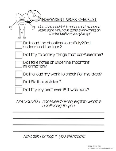 """Awesome checklist to help students identify what they are struggling with before they automatically give up and say, """"I don't get it.""""  LOVE this."""