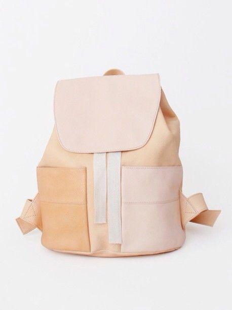 Bag: pastel leather backpack nudee nude backpack back to school pastel school