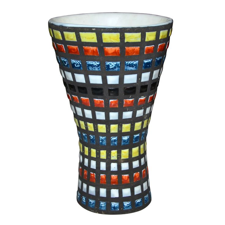 Mosaic Pattern On Ceramic Vase By Capron Made In Vallauris