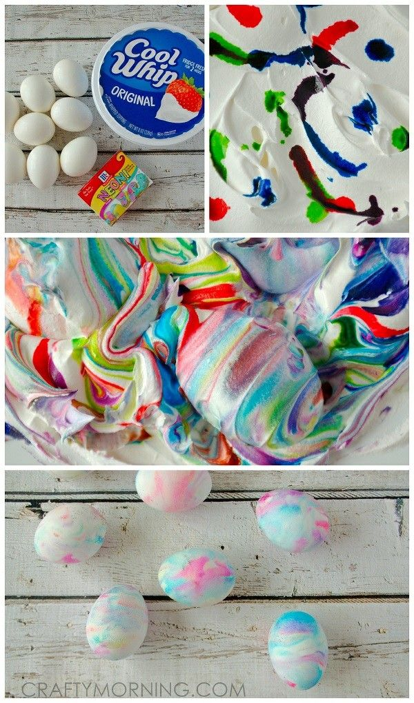 Fun!! Cool whip easter eggs!  Edible way for kids to dye them and they're super pretty.