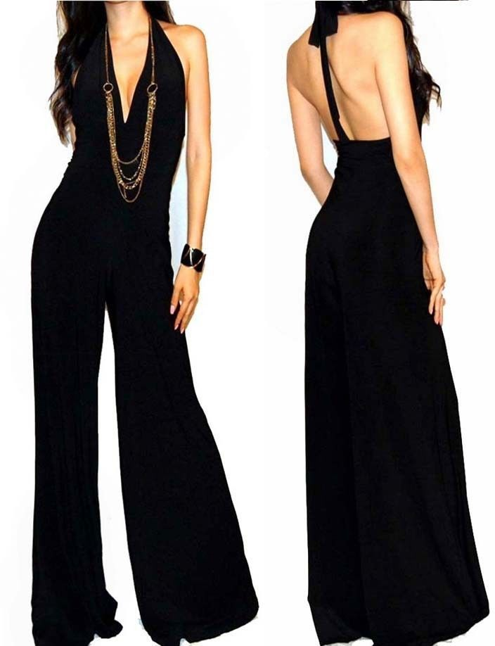 NEW SEXY VTG BLACK HALTER MAXI PALAZZO DRESS JUMPSUIT OUTFIT S M L #GOTSTYLES #Jumpsuit